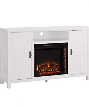 Southern Enterprises Adderly Farmhouse Style Electric TV Stand Fireplace White 0 300x360