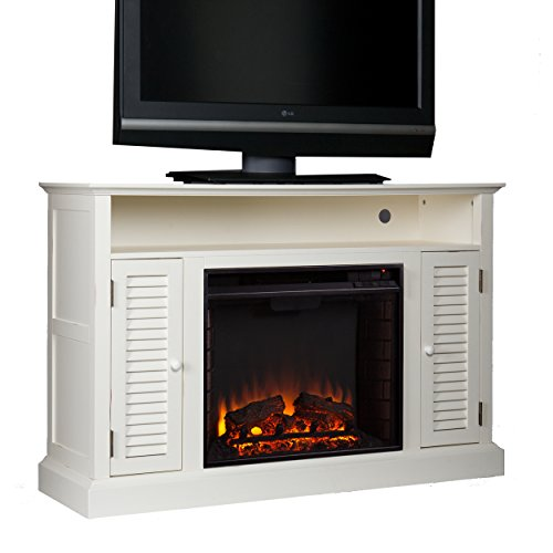 Southern Enterprises Antebellum Media Electric Fireplace 48 Wide Antique White Finish 0 0