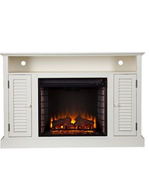 Southern Enterprises Antebellum Media Electric Fireplace 48 Wide Antique White Finish 0 1 300x360