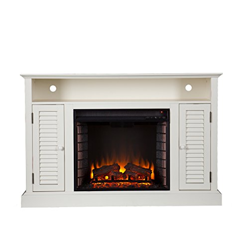 Southern Enterprises Antebellum Media Electric Fireplace 48 Wide Antique White Finish 0 1