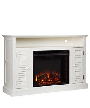 Southern Enterprises Antebellum Media Electric Fireplace 48 Wide Antique White Finish 0 2 300x360