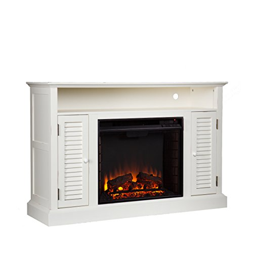 Southern Enterprises Antebellum Media Electric Fireplace 48 Wide Antique White Finish 0 2