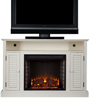 Southern Enterprises Antebellum Media Electric Fireplace 48 Wide Antique White Finish 0 300x360