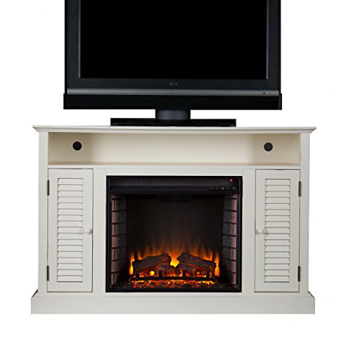 Southern Enterprises Antebellum Media Electric Fireplace 48 Wide Antique White Finish 0