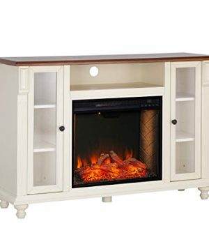 Southern Enterprises Carlinville Alexa Enabled Smart Media Fireplace With Storage Antique WhiteWalnut 0 0 300x360