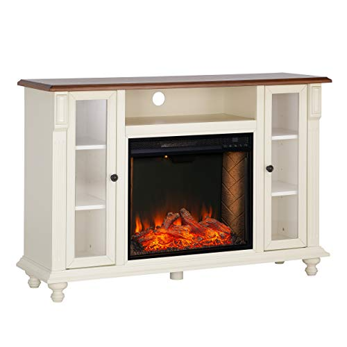 Southern Enterprises Carlinville Alexa Enabled Smart Media Fireplace With Storage Antique WhiteWalnut 0 0