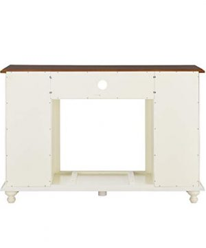 Southern Enterprises Carlinville Alexa Enabled Smart Media Fireplace With Storage Antique WhiteWalnut 0 3 300x360