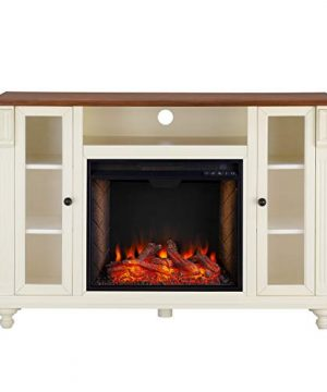 Southern Enterprises Carlinville Alexa Enabled Smart Media Fireplace With Storage Antique WhiteWalnut 0 300x360