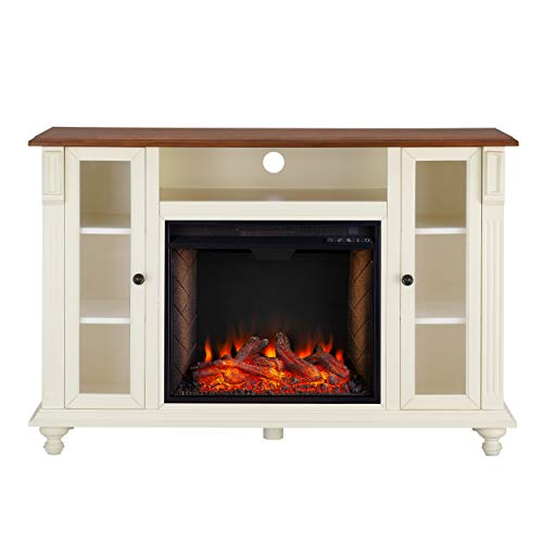 Southern Enterprises Carlinville Alexa Enabled Smart Media Fireplace With Storage Antique WhiteWalnut 0