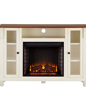Southern Enterprises Carlinville Electric TV Stand Fireplace White 0 300x360