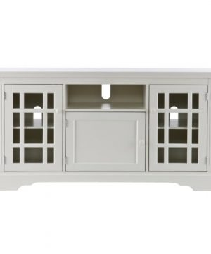 Southern Enterprises Chatsworth TV Media Stand Fits Up To 53 Television Windowpane Cabinets WOff White Finish 0 300x360