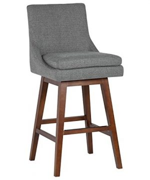 Stone Beam Alaina Contemporary High Back Swivel Seat Bar Stool 43H Grey 0 300x360