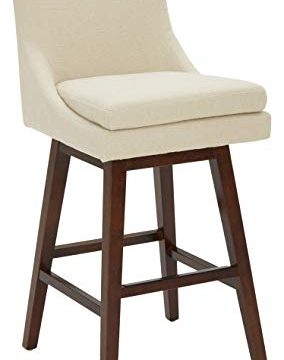 Stone Beam Alaina Contemporary High Back Swivel Seat Barstool 43H Beige 0 284x360