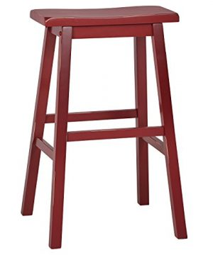 Stone Beam Cottage Wood Bar Stool 29H Red 0 300x360