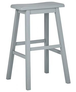 Stone Beam Cottage Wood Saddle Kitchen Bar Counter Stool 24 Inch Height Blue 0 300x360