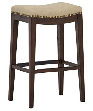 Stone Beam Elden Nailhead Trim Saddle Kitchen Counter Backless Bar Stool 30H Hemp 0 300x360