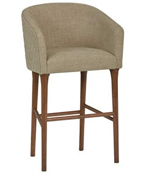 Stone Beam Mid Century Tub And Barrel Barstool 425H Beige 0 300x360