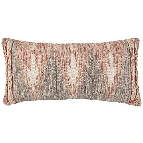 Stone Beam Modern Braid Throw Pillow 12 X 24 Inch Red White Black 0