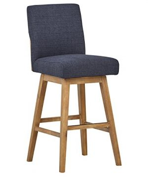 Stone Beam Sophia Modern Swivel Kitchen Bar Stool 394H Navy Blue 0 300x360