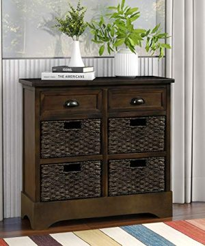 Storage Accent Table Cabinet With Two Drawers And Four Classic Fabric Basket Console Table Sideboard For KitchenDining RoomEntrywayLiving Room Dark Brown 0 300x360