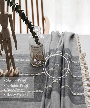 TEWENE Tablecloth Square Table Cloth Cotton Linen Anti Fading Wrinkle Free Tablecloths Washable Dust Proof Embroidery Table Cover For Kitchen Dinning Party Square55x554 Seats Gray 0 0 300x360