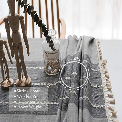 TEWENE Tablecloth Square Table Cloth Cotton Linen Anti Fading Wrinkle Free Tablecloths Washable Dust Proof Embroidery Table Cover For Kitchen Dinning Party Square55x554 Seats Gray 0 0