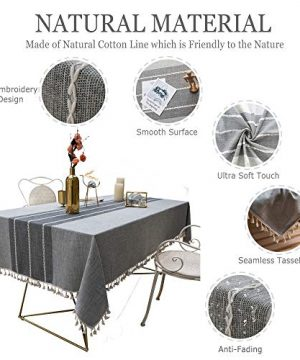 TEWENE Tablecloth Square Table Cloth Cotton Linen Anti Fading Wrinkle Free Tablecloths Washable Dust Proof Embroidery Table Cover For Kitchen Dinning Party Square55x554 Seats Gray 0 1 300x360