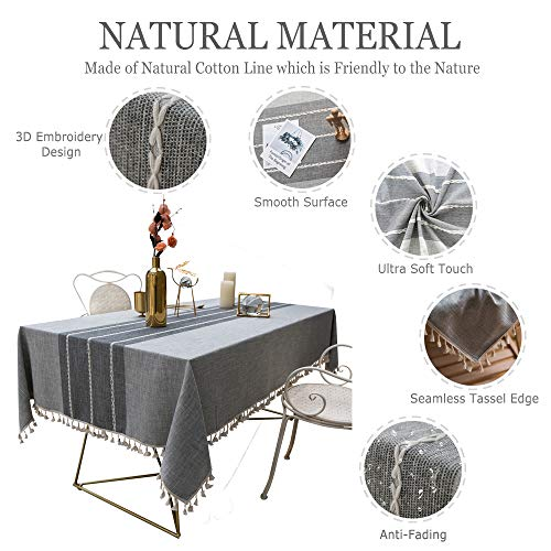 TEWENE Tablecloth Square Table Cloth Cotton Linen Anti Fading Wrinkle Free Tablecloths Washable Dust Proof Embroidery Table Cover For Kitchen Dinning Party Square55x554 Seats Gray 0 1