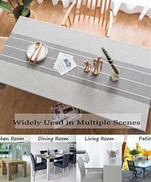 TEWENE Tablecloth Square Table Cloth Cotton Linen Anti Fading Wrinkle Free Tablecloths Washable Dust Proof Embroidery Table Cover For Kitchen Dinning Party Square55x554 Seats Gray 0 2 300x360