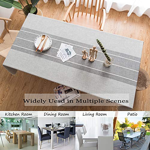 TEWENE Tablecloth Square Table Cloth Cotton Linen Anti Fading Wrinkle Free Tablecloths Washable Dust Proof Embroidery Table Cover For Kitchen Dinning Party Square55x554 Seats Gray 0 2