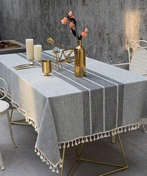 TEWENE Tablecloth Square Table Cloth Cotton Linen Anti Fading Wrinkle Free Tablecloths Washable Dust Proof Embroidery Table Cover For Kitchen Dinning Party Square55x554 Seats Gray 0 300x360