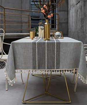 TEWENE Tablecloth Square Table Cloth Cotton Linen Anti Fading Wrinkle Free Tablecloths Washable Dust Proof Embroidery Table Cover For Kitchen Dinning Party Square55x554 Seats Gray 0 5 300x360