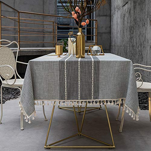 TEWENE Tablecloth Square Table Cloth Cotton Linen Anti Fading Wrinkle Free Tablecloths Washable Dust Proof Embroidery Table Cover For Kitchen Dinning Party Square55x554 Seats Gray 0 5