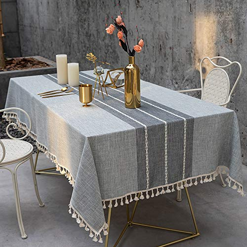TEWENE Tablecloth Square Table Cloth Cotton Linen Anti Fading Wrinkle Free Tablecloths Washable Dust Proof Embroidery Table Cover For Kitchen Dinning Party Square55x554 Seats Gray 0