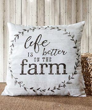 TINAS HOME Farmhouse Quote Decorative Throw Pillows With Down Alternative Stuffing Life Is Better ON The Farm 18x18 Inches Beige 0 0 300x360