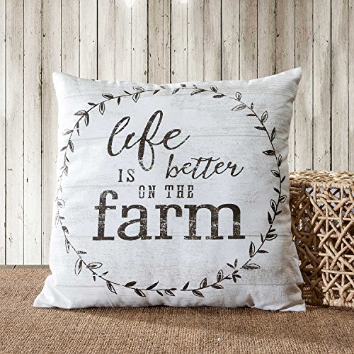 TINAS HOME Farmhouse Quote Decorative Throw Pillows With Down Alternative Stuffing Life Is Better ON The Farm 18x18 Inches Beige 0 0