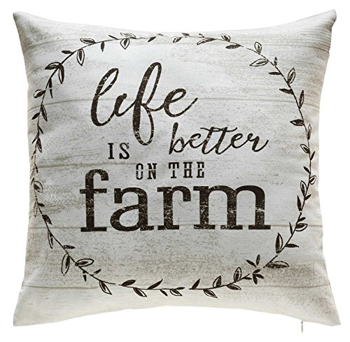 TINAS HOME Farmhouse Quote Decorative Throw Pillows With Down Alternative Stuffing Life Is Better ON The Farm 18x18 Inches Beige 0