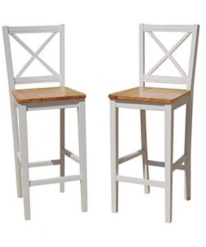 TMS 30 Inch Virginia Cross Back Stools Set Of 2 Whitenatural 0 300x360