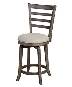 The Mezzanine Shoppe Ashton Wooden Ladderback Kitchen Swivel Stool 24 Weathered Gray 0 300x360