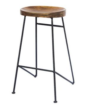 The Urban Port Mango Wood Saddle Seat Bar Stool With Iron Rod Legs Brown And Black 0 300x360
