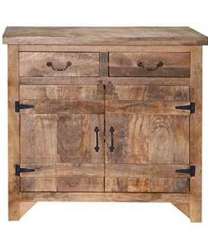 The Urban Port Tup Farmhouse Style 2 Drawer Wooden Cabinet With Dual Door Storage Brown 0 300x360