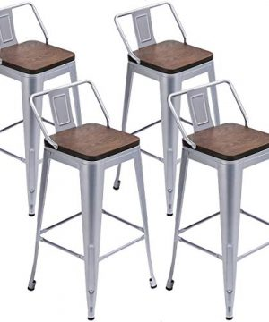Tongli Metal Bar Stools Kitchen Counter Height Barstools Set Of 4 Metal Counter Stools 26 Inches Silver Low Back 0 300x360