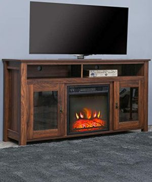 Top Space Electric Fireplace TV Stand Entertainment Center Corner Electric Fireplace Console Fireplace Heater For TVs Up To 60Wooden Electric Fireplace TV StandRustic 0 0 300x360