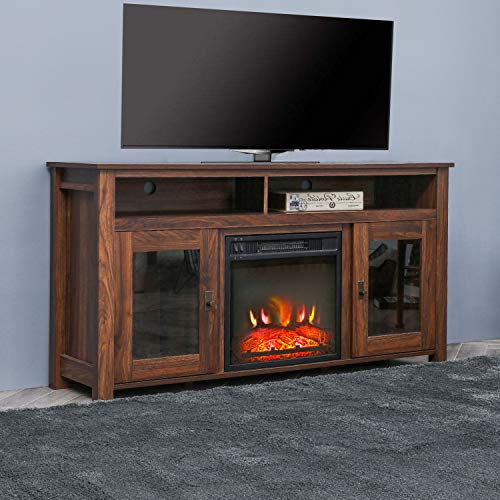 Top Space Electric Fireplace TV Stand Entertainment Center Corner Electric Fireplace Console Fireplace Heater For TVs Up To 60Wooden Electric Fireplace TV StandRustic 0 0