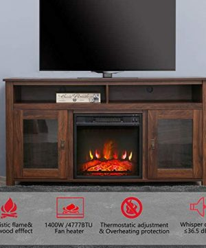 Top Space Electric Fireplace TV Stand Entertainment Center Corner Electric Fireplace Console Fireplace Heater For TVs Up To 60Wooden Electric Fireplace TV StandRustic 0 1 300x360