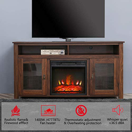 Top Space Electric Fireplace TV Stand Entertainment Center Corner Electric Fireplace Console Fireplace Heater For TVs Up To 60Wooden Electric Fireplace TV StandRustic 0 1