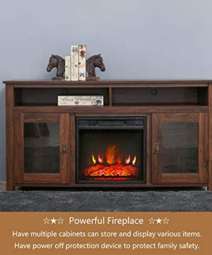 Top Space Electric Fireplace TV Stand Entertainment Center Corner Electric Fireplace Console Fireplace Heater For TVs Up To 60Wooden Electric Fireplace TV StandRustic 0 3 300x360