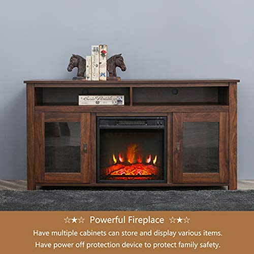 Top Space Electric Fireplace TV Stand Entertainment Center Corner Electric Fireplace Console Fireplace Heater For TVs Up To 60Wooden Electric Fireplace TV StandRustic 0 3