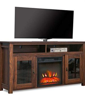 Top Space Electric Fireplace TV Stand Entertainment Center Corner Electric Fireplace Console Fireplace Heater For TVs Up To 60Wooden Electric Fireplace TV StandRustic 0 300x360