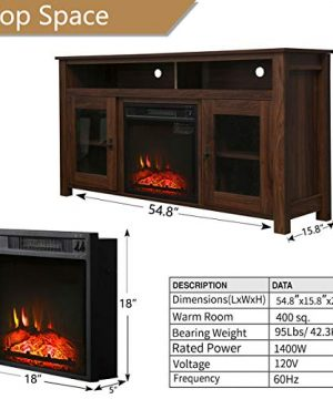 Top Space Electric Fireplace TV Stand Entertainment Center Corner Electric Fireplace Console Fireplace Heater For TVs Up To 60Wooden Electric Fireplace TV StandRustic 0 4 300x360